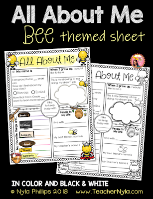 Bee Themed All About Me Writing Sheet