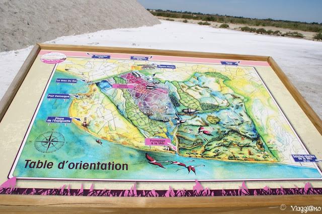 La mappa delle Saline di Aigues Mortes