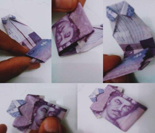 bentuk pola lipatan uang kertas agar menjadi baju kemeja