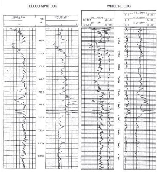 Comparison of MWD and Wireline Log