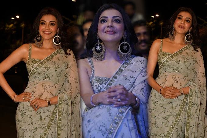 Actress Kajal Aggarwal Saree Pics at Mosagallu Event