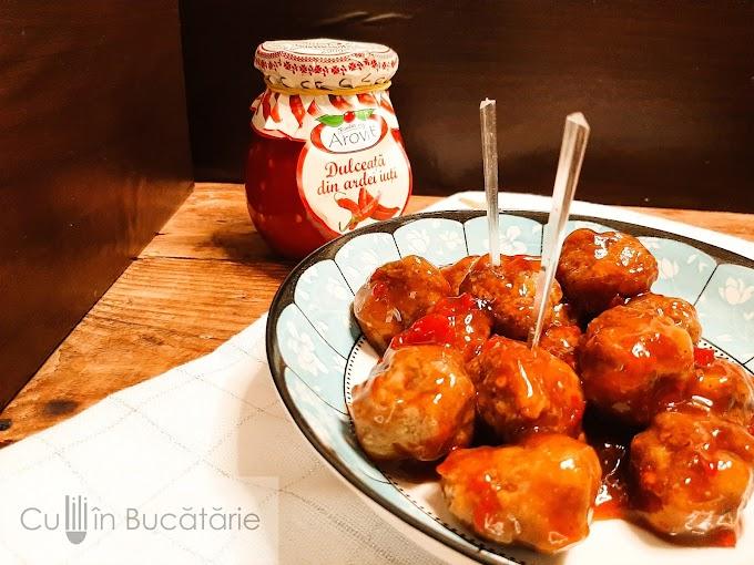 Chifteluțele  glazurate cu dulceață de ardu iute