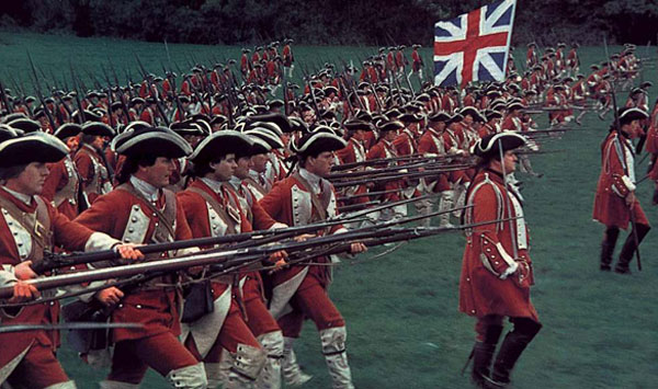 The British troops march into battle in Barry Lyndon