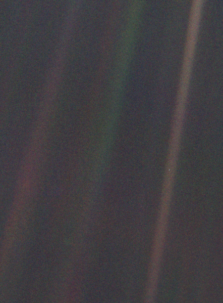 This narrow-angle color image of the Earth, dubbed 'Pale Blue Dot', is a part of the first ever 'portrait' of the solar system taken by Voyager 1.
