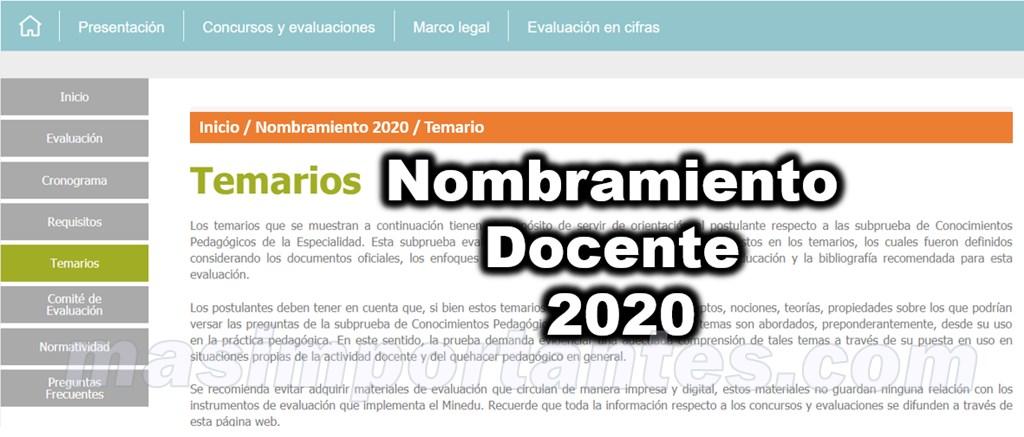 temario para nombramiento docente 2020