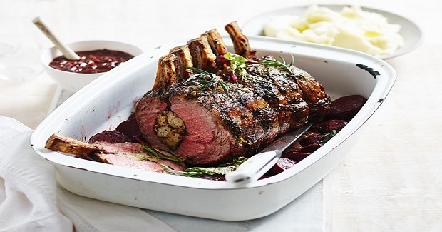 Spring Herbed Standing Roast With Red Wine Jus Recipe