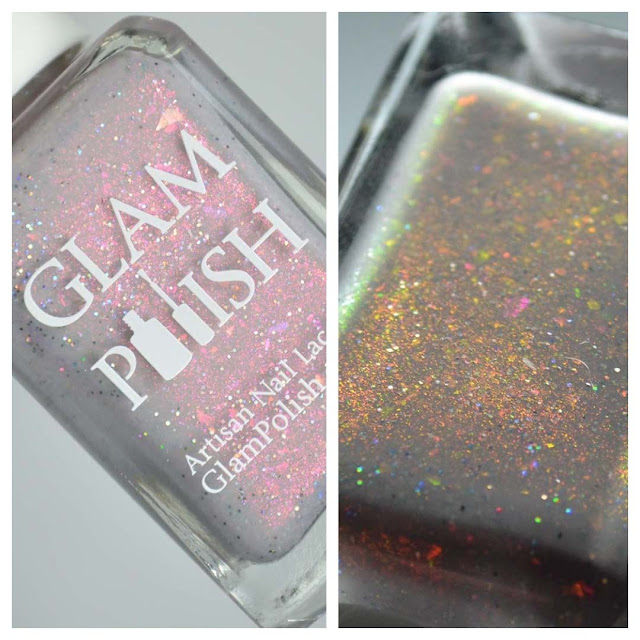 grey shimmer nail polish in a bottle