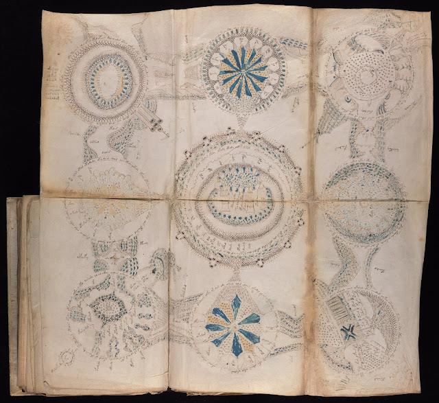 Voynich Elyazması - Kozmolojik Çizimler: Bu biçimler katlanmış sayfalara düzenli bir şekilde çizilmiş ve büyük ihtimalle coğrafi biçimleri ifade ediyor...