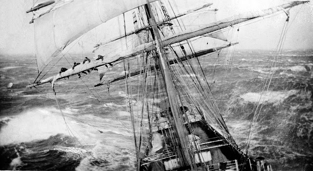 The Garthsnaid at sea. Photo of Sailors in the rigging. 1920's.  Oil Upon Troubled Waters. marchmatron.com