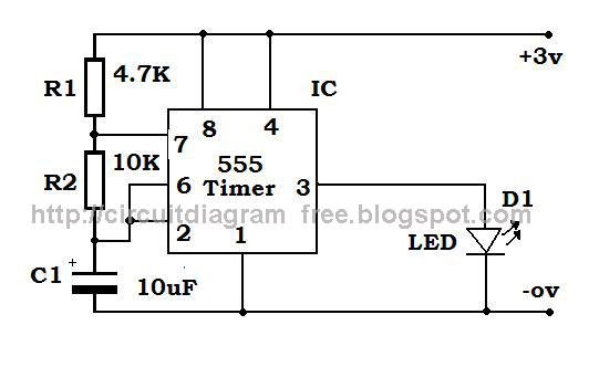 Electronic Circuit Diagrams: 555 IC Blinking Led