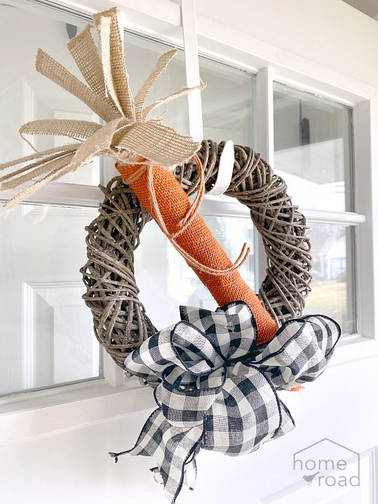 Carrot wreath for the front door using burlap