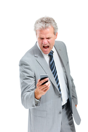 Angry Addict yelling at his cell phone