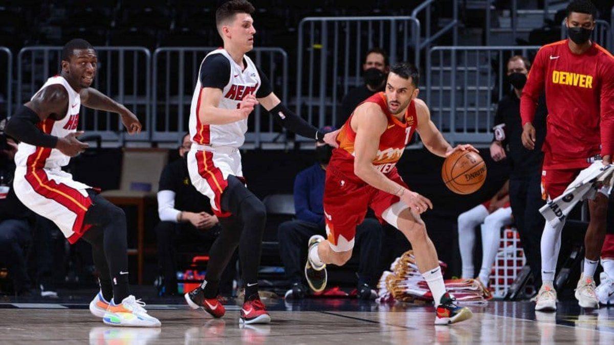 Denver Nuggets venció a Miami Heat con ocho puntos de Facundo Campazzo