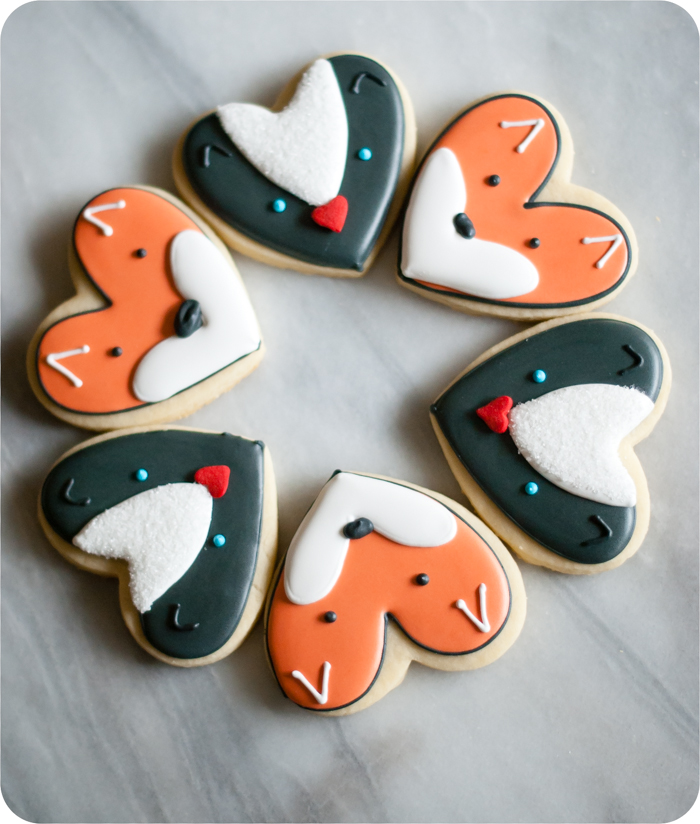 heart-shaped fox and skunk cookies