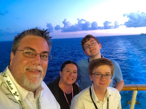 A photo of David Brodosi and his family on a cruise ship