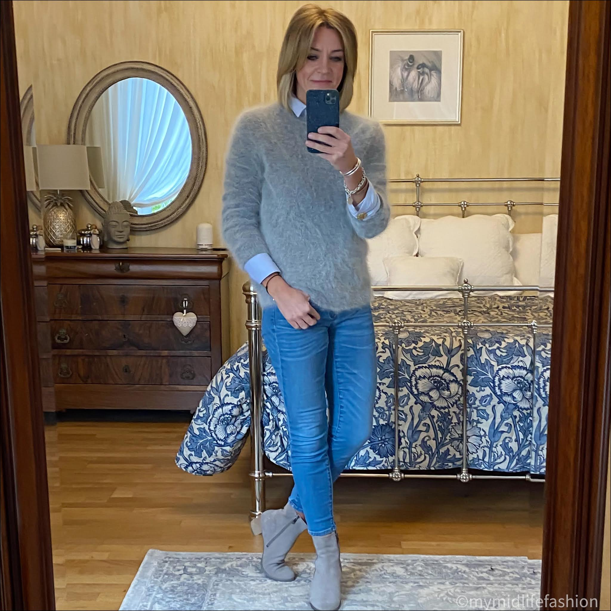 my midlife fashion, american vintage grey crew neck jumper, uterque oversized shirt, j crew 8 inch toothpick skinny jeans, ecco ankle boots