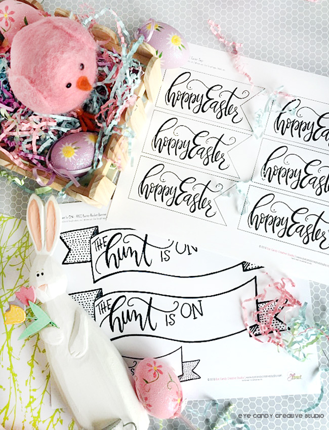 the hunt is on, hand lettered tags, hoppy easter tags, free easter tags