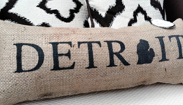 Detroit burlap handmade pillow - made by lina and vi plymouth mi