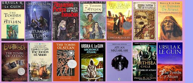 Portadas de la novela de fantasía juvenil Las tumbas de Atuan, de Ursula K. Le Guin