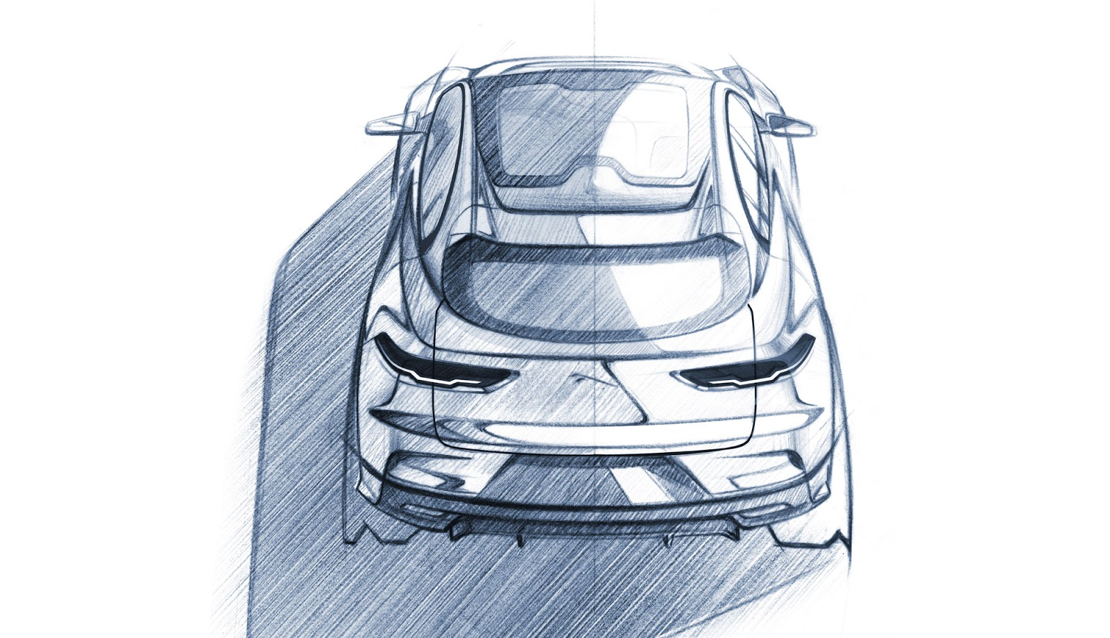 Jaguar I-Pace pencil sketch - rear plan view