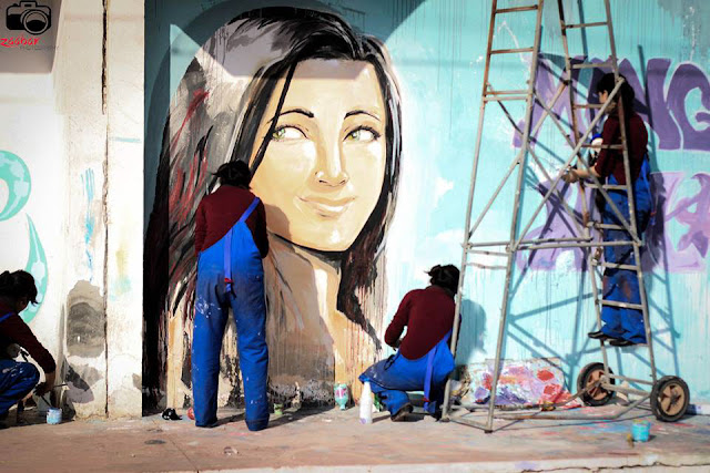 Tunisian Graffiti woman Hela H2O