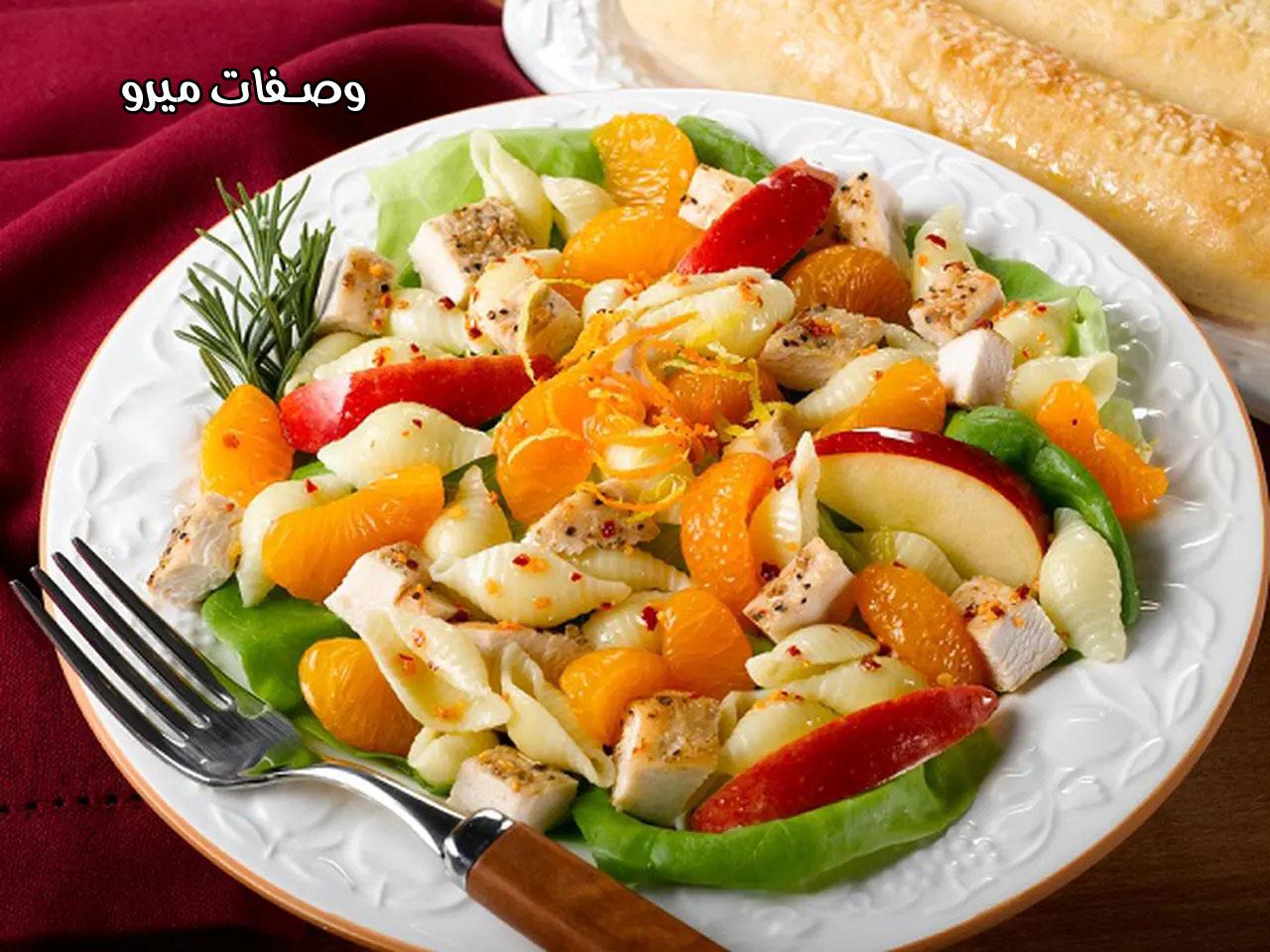 طريقة عمل طبق قطع الدجاج بالمكرونة والبرتقال