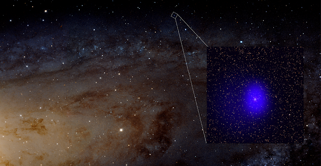 This graphic shows the Chandra data (blue in inset) of the source known as LGGS J004527.30+413254.3 (J0045+41 for short) in the context of optical images of Andromeda from the Hubble Space Telescope. J0045+41 likely contains a pair of supermassive black holes in close orbit around each other, separated by only a few hundred times the distance between the Earth and the Sun. The estimated total mass of the black holes is about two hundred million times the mass of our Sun. Credits: X-ray: NASA/CXC/University of Washington/T. Dorn-Wallenstein et. al.; Optical: NASA, ESA, J. Dalcanton et. al. and R. Gendler.