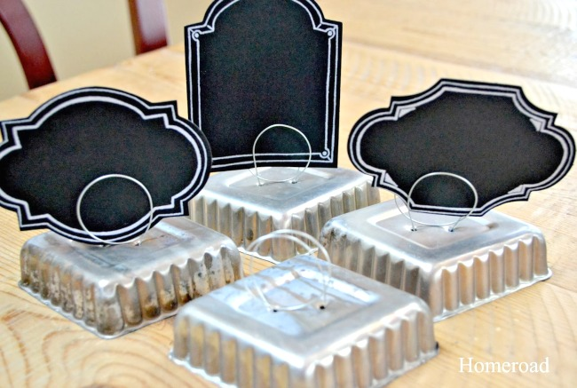 vintage tin tart place card holders