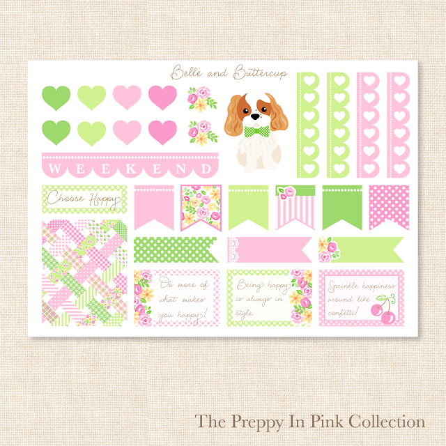 Preppy pink and green heart, flag, quote and dogs stickers