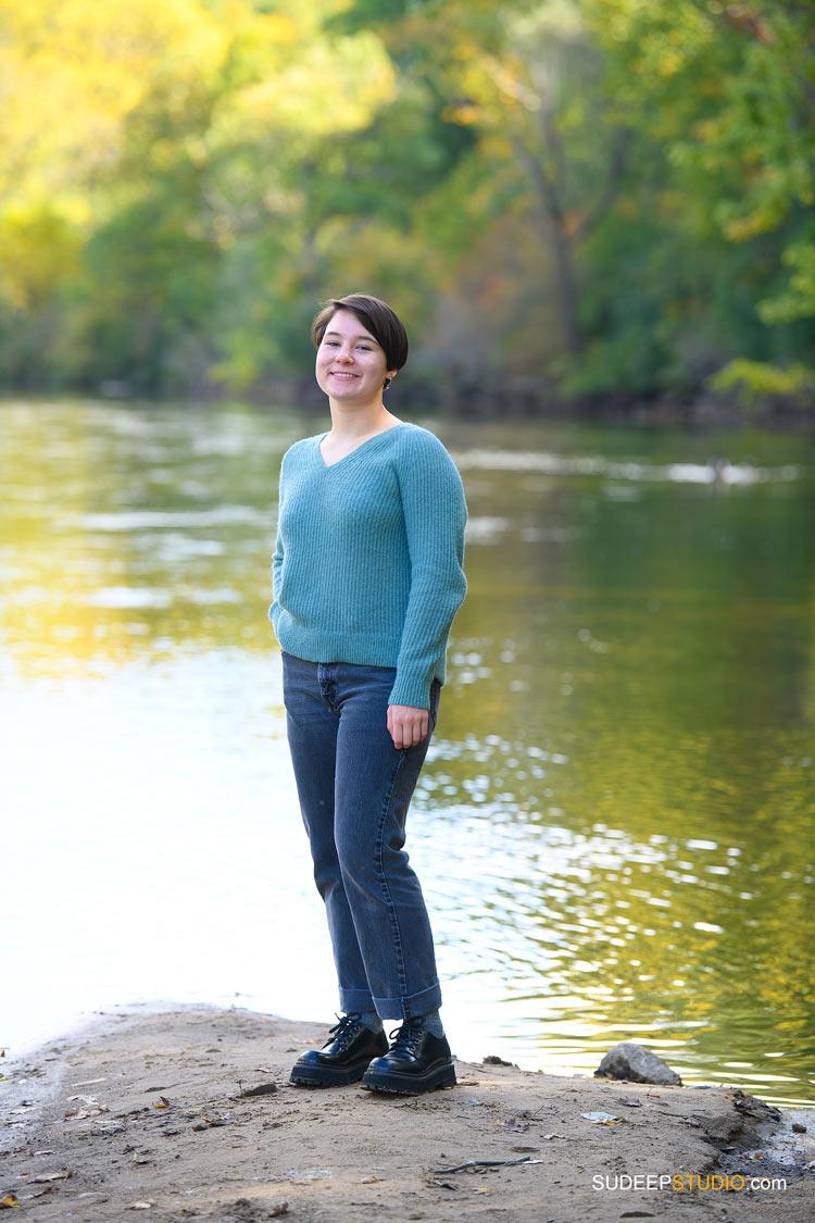 Skyline High School Girls Senior Pictures in Nature River Water SudeepStudio.com Ann Arbor Senior Portrait Photographer
