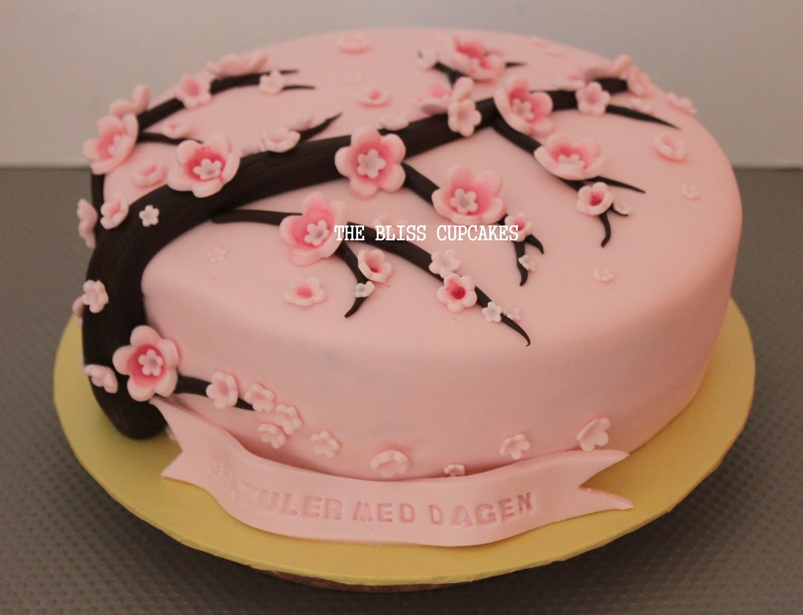 Pink Cherry Blossom Birthday Cake