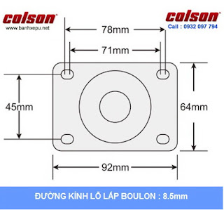 Bánh xe Nylon càng bánh xe inox 304 | 2-3308SS-254 | kích thước tấm lắp
