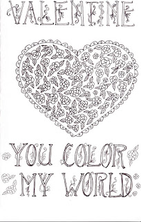 Valentine's Day coloring greeting card