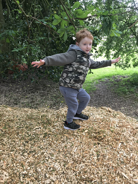 Little boy standing on a pile of wood chips