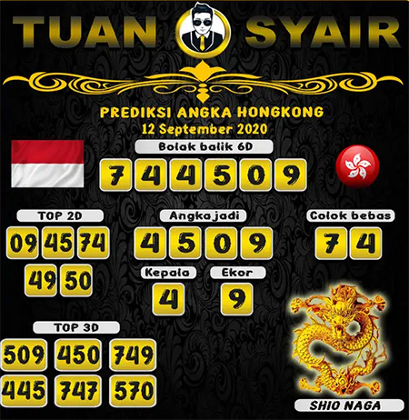 Prediksi Tuan Syair HK Sabtu 12 September 2020