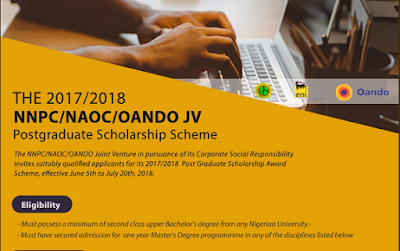 2017 / 2018 NNPC/NAOC/OANDO JV Postgraduate Scholarship Scheme