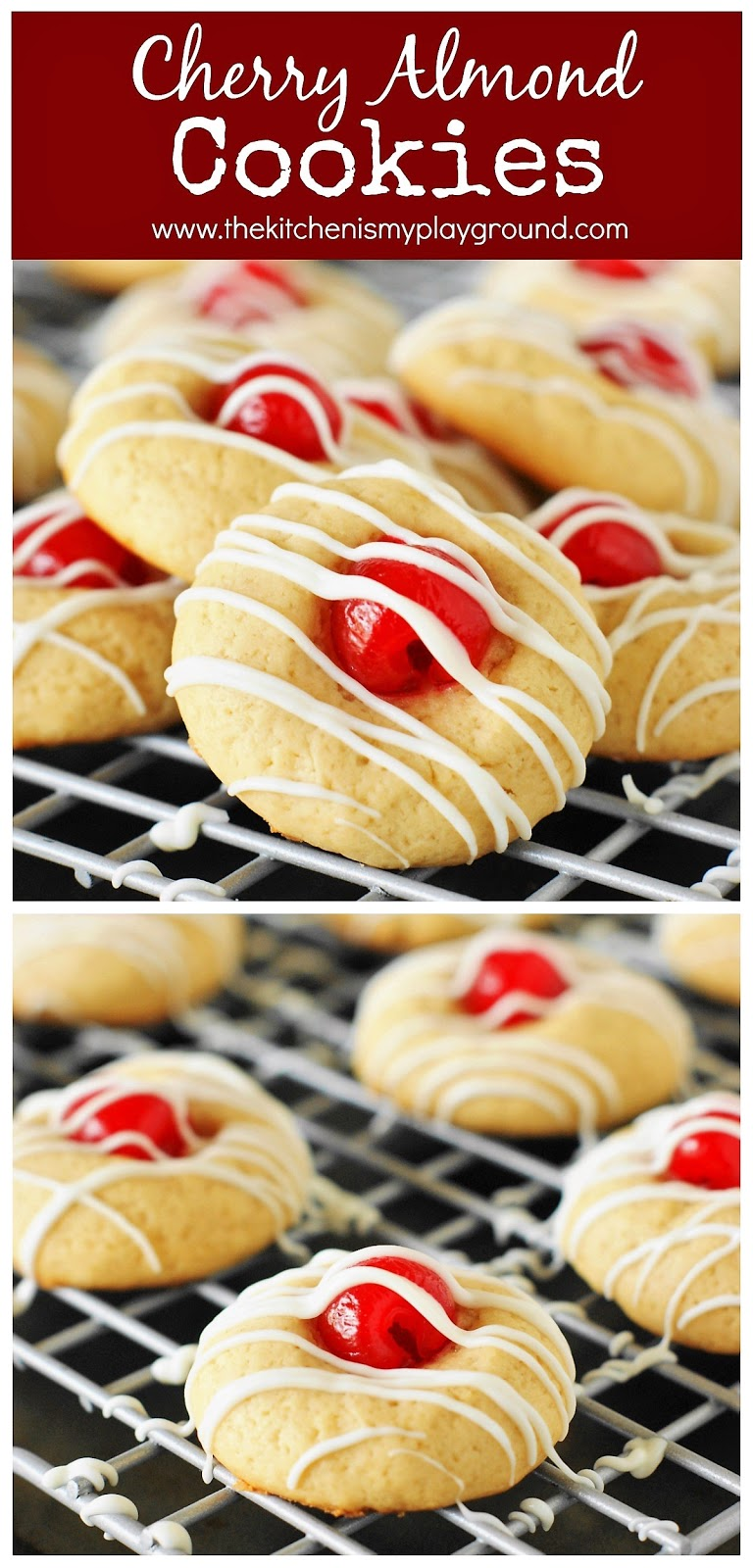 Christmas Cookie Trays.Cherry Almond Cookies