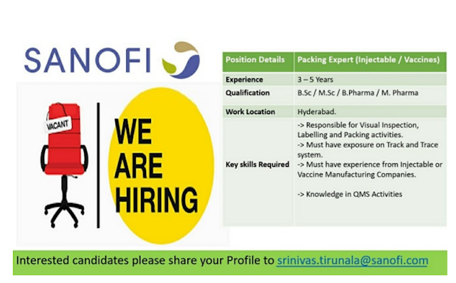SANOFI Recruitments for Packing Expert (Injectable/ Vaccines) @ Hyderabad