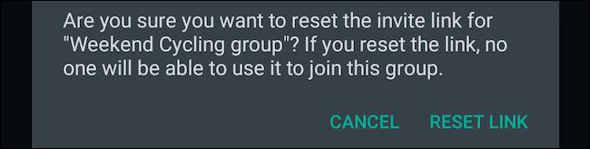 إعادة تعيين رابط مجموعة WhatsApp