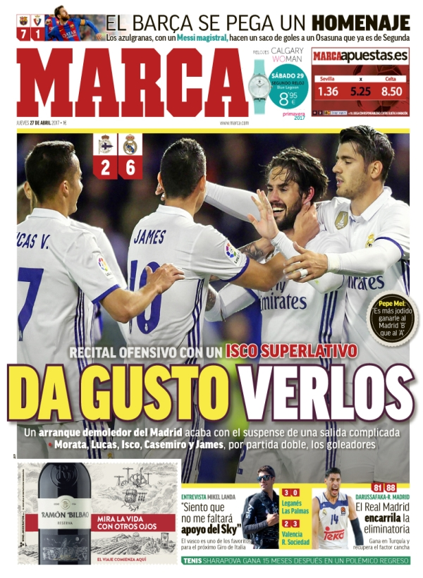 "Real Madrid, Marca: ""Da gusto verlos"""