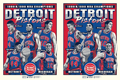 "Detroit Pistons ""Back to Back Champions"" Screen Print by Fitz x Phenom Gallery x NBA"