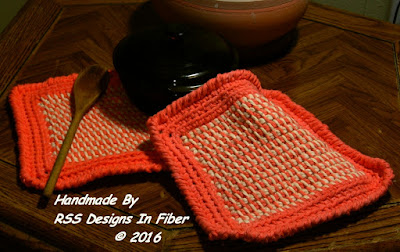Made-To-Order Orange and Cream Tweed Potholder Set - Handmade By Ruth Sandra Sperling at RSS Designs In Fiber