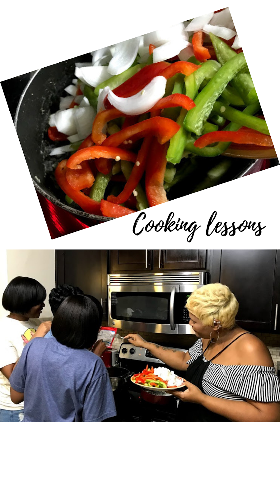 Image: Mom teaching daughters how to saute onions, and bell peppers in the kitchen. Cooking Lessons