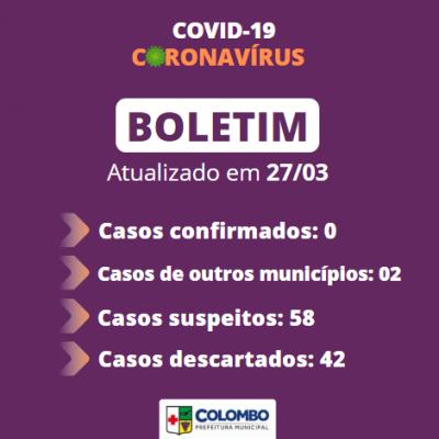 Colombo tem zero casos confirmados de coronavírus, os 2 positivos são de outros municípios