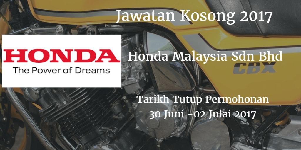 Jawatan Kosong Honda Malaysia Sdn Bhd 30 Juni 2017
