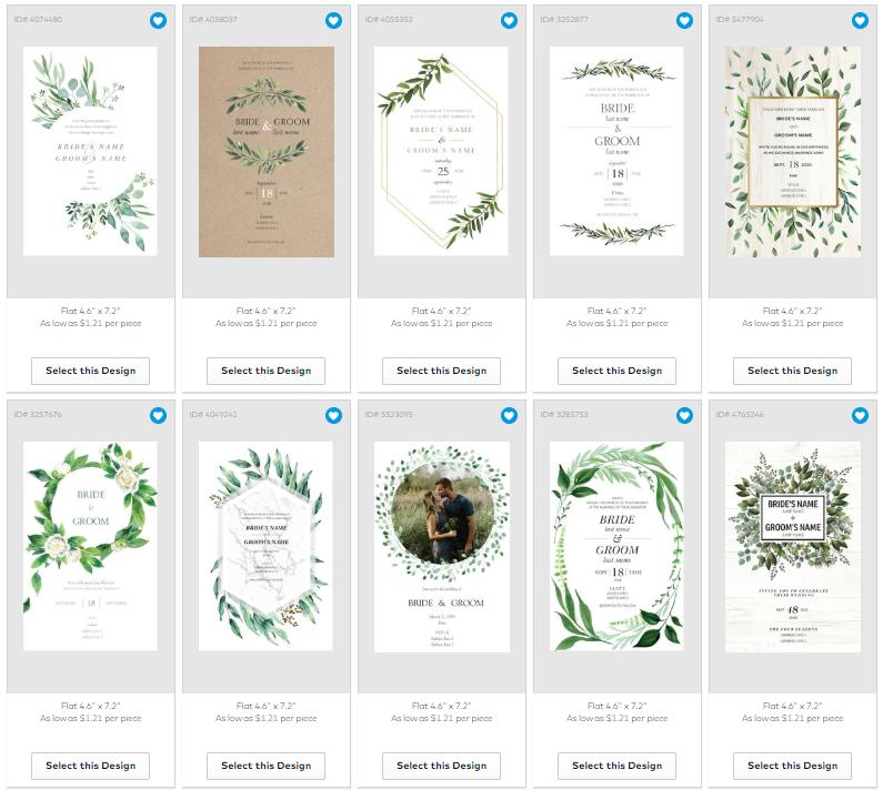 vistaprint greenery wedding invitations