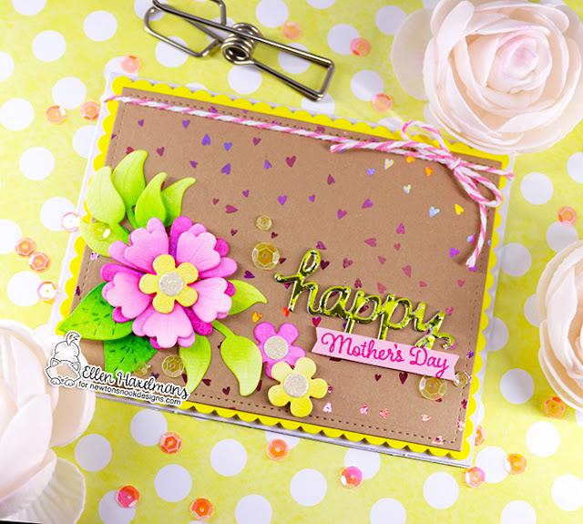 Newton's Nook Designs & Therm O Web Inspiration Week | Mother's Day Card by Ellen Haxelmans | Frames & Flags Die Set Flower Trio Die Set and Mom & Dad Stamp Set by Newton's Nook Designs with Foils by Therm O Web #newtonsnook #handmade