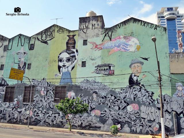 Vista de um Mural Grafite de vários artistas na parede de um sobrado em Santana - São Paulo