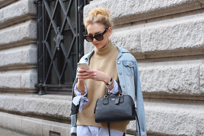 layering, jumper, camel, shirt, sleeves, denim, jacket, coach, bag, nolita, styling, how to wear, outfit, ootd, celine, sunglasses, new audrey, uk, fashion, blogger