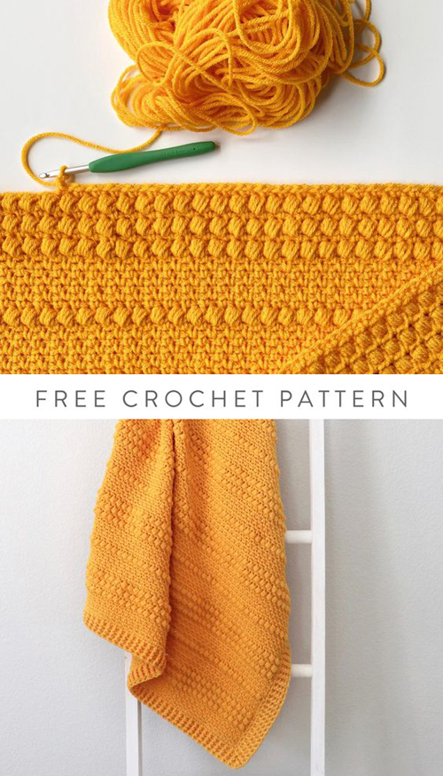 Crochet Gold Puffs Baby Blanket - Free Pattern